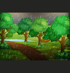 Forest scene on rainy day vector
