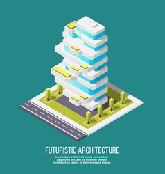 Future architecture isometric background vector