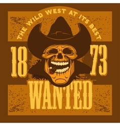 Gangster skull with cowboy hat and cigar vector
