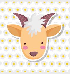 Goat face farm animal cartoon flowers background vector
