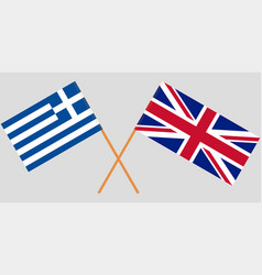 greece and uk flags official colors vector image