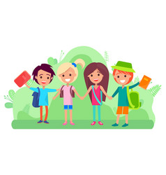 group students with books and backbacks vector image