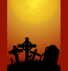 halloween red and yellow background with zombie vector image