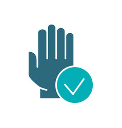 Hand with tick checkmark colored icon hygiene vector