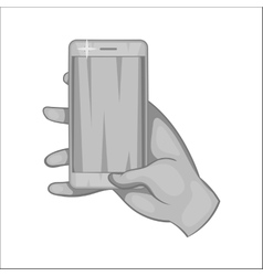 Hand works on a mobile phone icon vector image