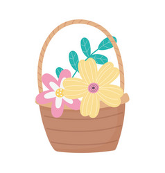 happy easter day flowers foliage leaves in basket vector image