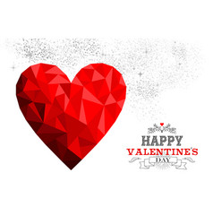 happy valentines day red low poly heart love card vector image