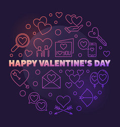 happy valentines day round colorful outline vector image