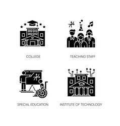 Higher education black glyph icons set on white vector