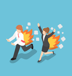 Isometric businessman running with back on fire vector