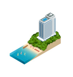 Isometric luxury beach hotel and sea view swimming vector