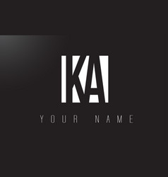 ka letter logo with black and white negative vector image