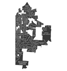 Kansas missouri city map usa labelled black vector