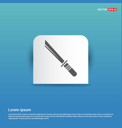 Katana sword icon - blue sticker button vector
