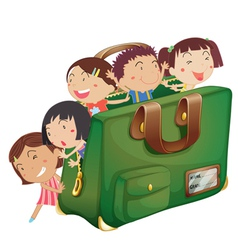 kids in a bag vector image