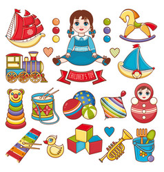 Kids toy set baby background vector