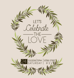 Lets celebrate love card floral crown vector