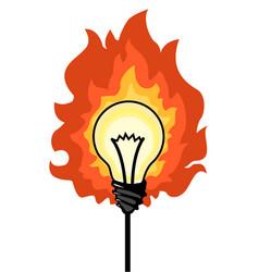 Light bulb fire cartoon vector