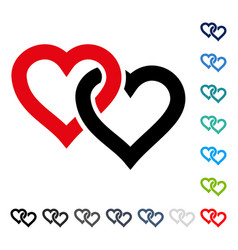 Linked hearts icon vector