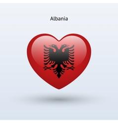 Love Albania symbol Heart flag icon vector