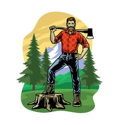 Lumberjack pose on logging forest vector