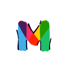 M letter logo handwritten with a multicolor vector