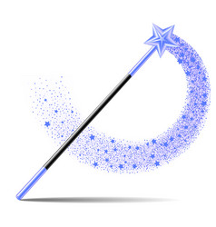 Magic wand with blue sta and sparkle trail vector