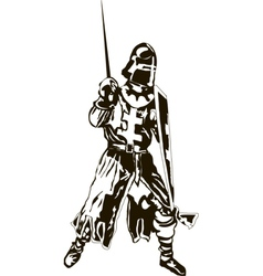 Medieval Knight with Sword and Shie vector