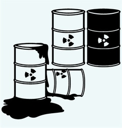 Metal containers for storage toxic substances vector
