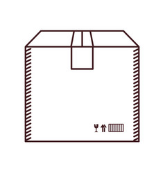 Monochrome silhouette with box of cardboard sealed vector