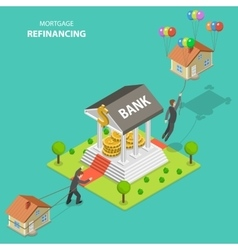 Mortgage refinancing isometric vector