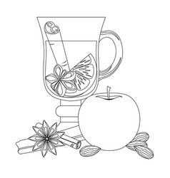 Mulled wine black and white poster on white vector