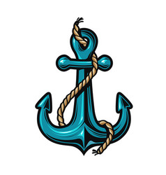 nautical anchor with rope cartoon vector image