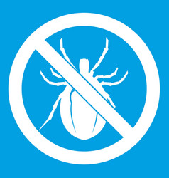 No bug sign icon white vector