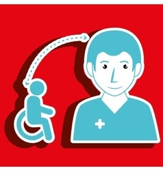 Nurse woman and wheelchair isolated icon design vector