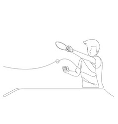 One single line drawing table tennis player vector