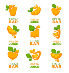 Orange fresh juice collection of logo symbols vector