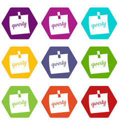 paper sheet with text qwerty icon set color vector image