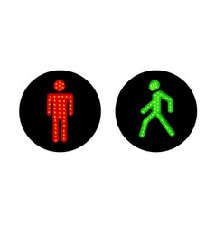 pedestrian traffic lights red and green vector image