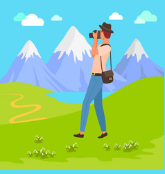 photographer taking pictures mountain view vector image