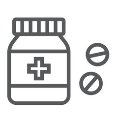 pills bottle line icon medical and healthy vector image