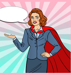 Pop art super businesswoman in red cape vector