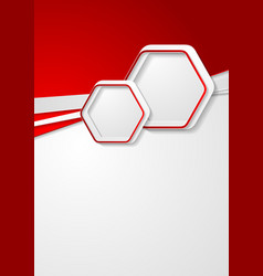Red and grey flyer design with hexagons vector