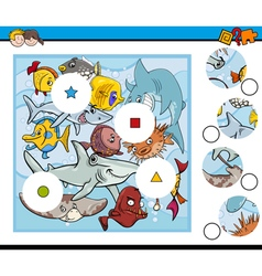 Sea life match pieces game vector