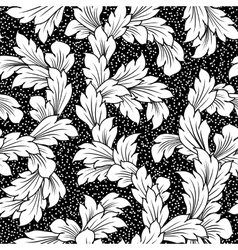 seamless baroque leaves black floral background vector image