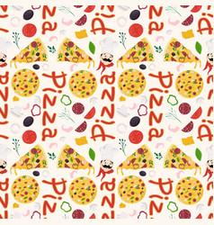 Seamless pattern 4 on theme italian pizza vector