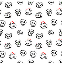 Seamless pattern with cute panda asian bear vector