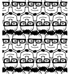 seamless pattern with hipster face vector image
