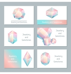 Set business cards with geometric crystals and vector