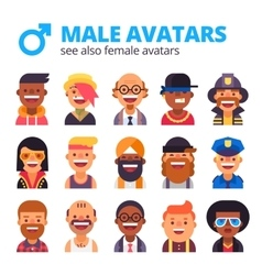 set cool male avatars modern flat design vector image